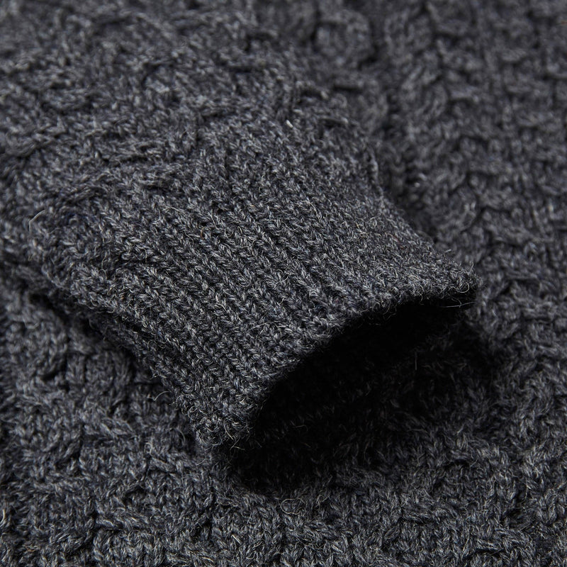 Mens charcoal British wool chunky fisherman's aran jumper sleeve