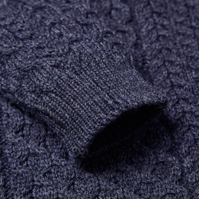 denim mens british wool cable jumper sleeve