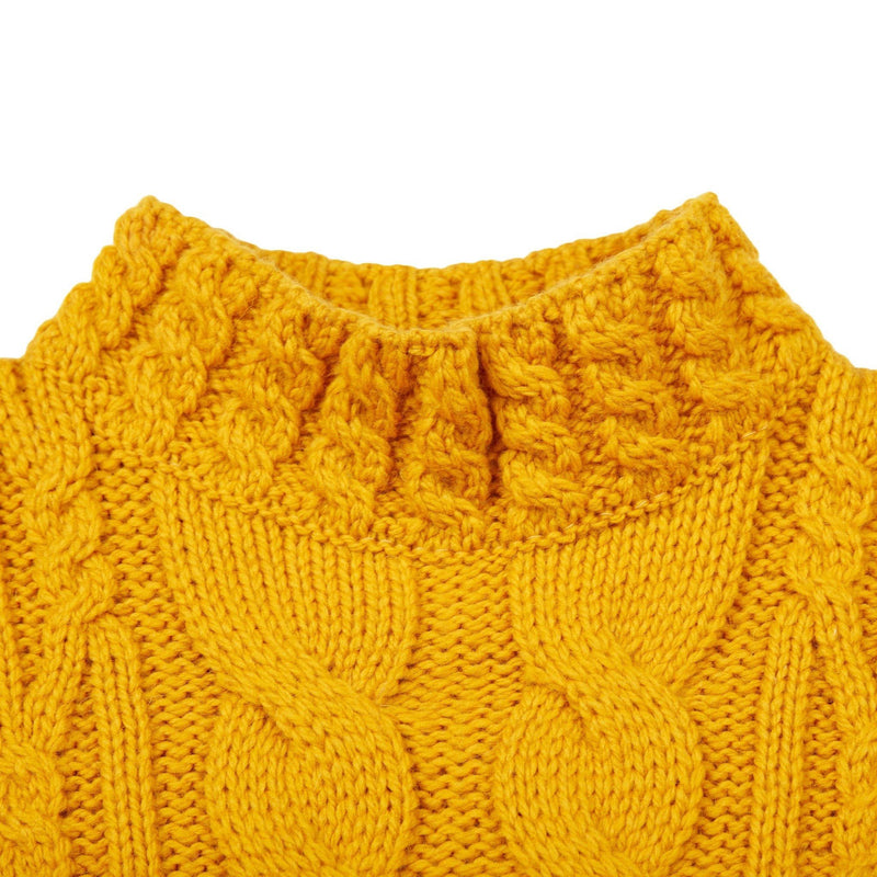 womens vintage aran crop jumper - Paul James Knitwear neckline close up