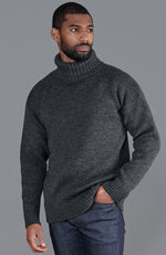 mens charcoal submariner roll neck chunky merino wool jumper front
