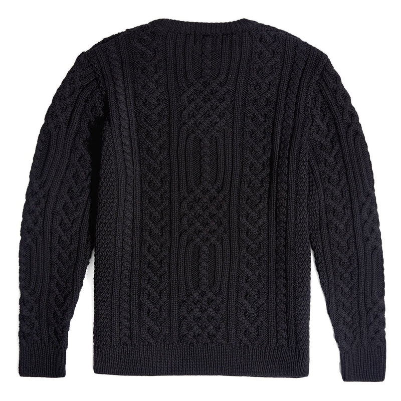 mens black chunky aran wool jumper back