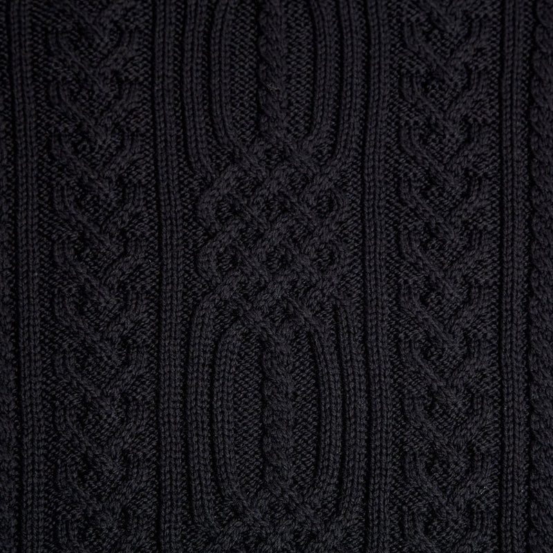 mens black chunky aran wool jumper close up