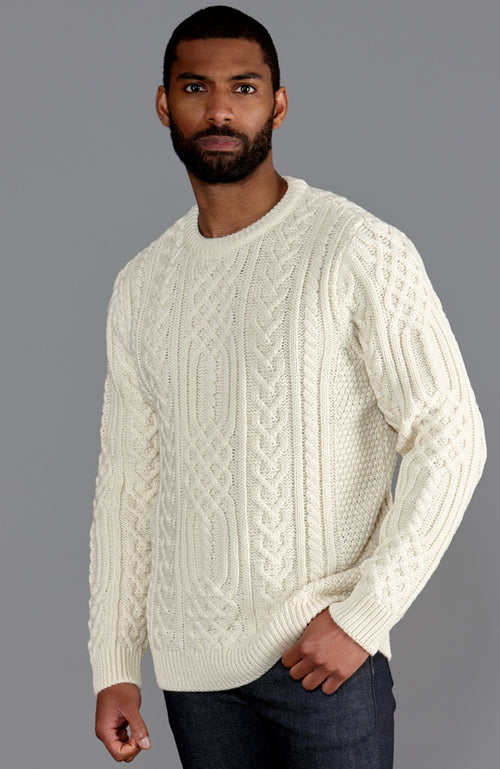 mens off white chunky merino wool cable jumper