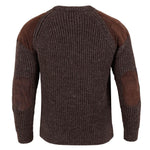 mens brown british wool chunky ribbed shooting jumper back