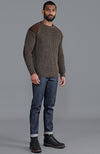 mens brown British wool shooting jumper with patches
