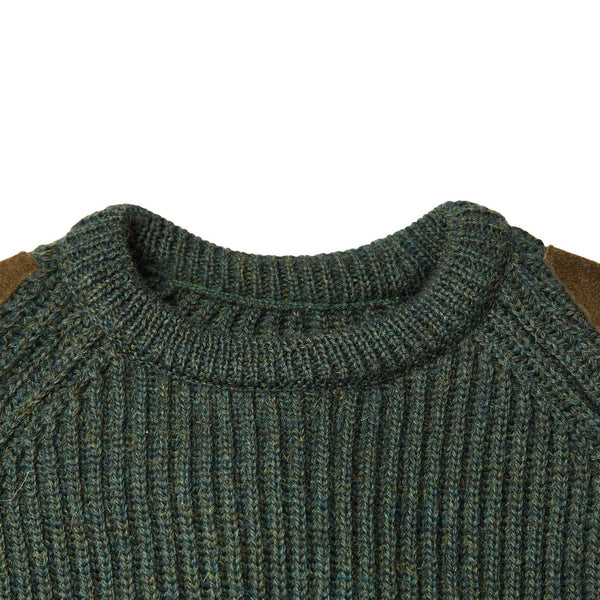 Mens Chunky British Wool Ribbed Shooting Jumper