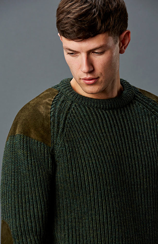 mens green wool shooting jumper