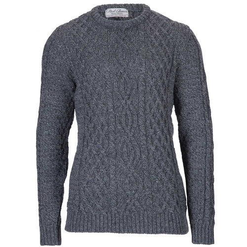 mens british wool aran anthracite cable sweater