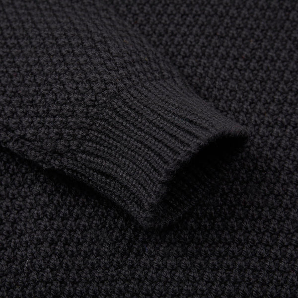 Mens merino wool roll neck moss stitch jumper black sleeve detail