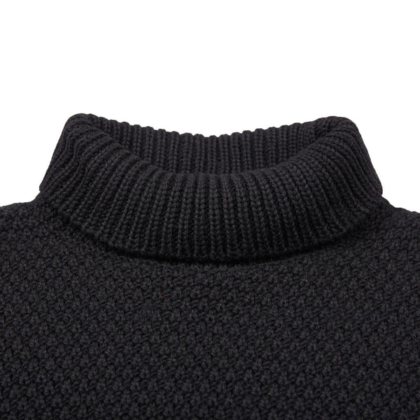 Mens merino wool roll neck moss stitch jumper black roll neck detail