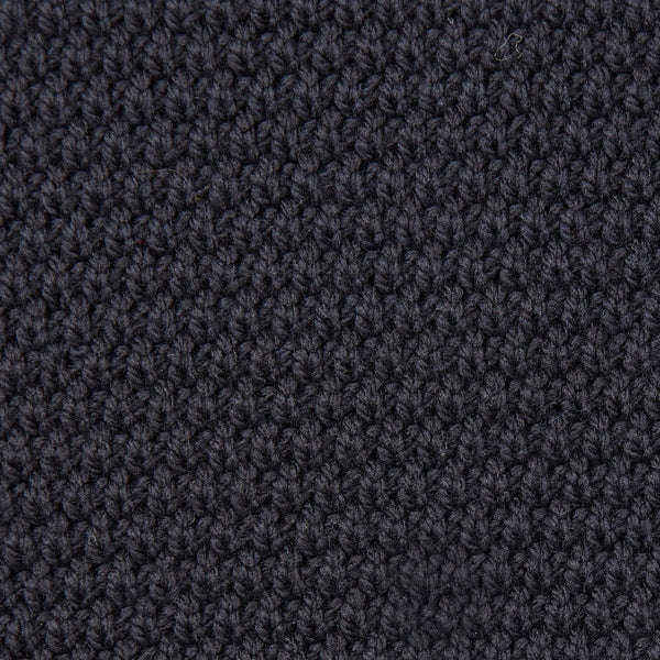 Mens merino wool roll neck moss stitch jumper black knit