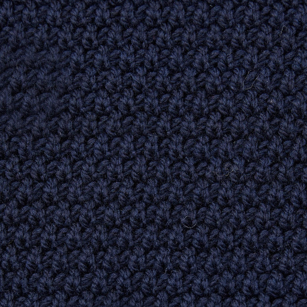 mens navy merino wool moss stitch jumper close up