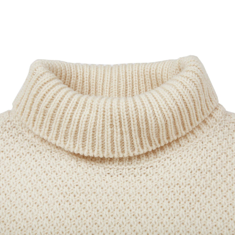 Mens merino wool roll neck moss stitch jumper ecru neckline close up