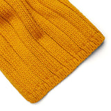 mustard merino wool scarf close up