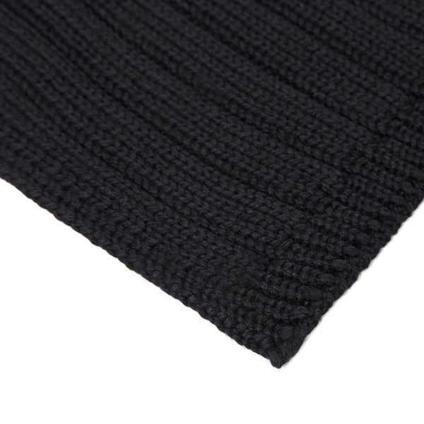 Unisex black wide ribbed merino wool scarf