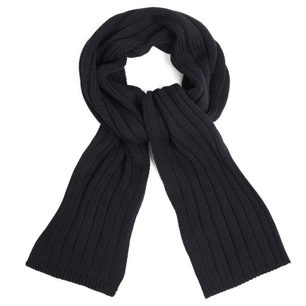 Unisex black wide ribbed merino wool scarf close up