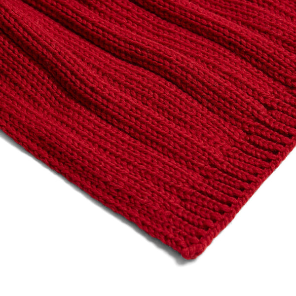 Unisex red wide ribbed merino wool scarf
