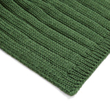 Unisex green wide ribbed merino wool scarf