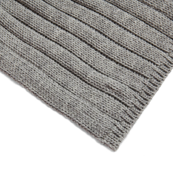 Unisex grey wide ribbed merino wool scarf