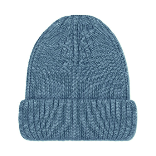 blue merino wool winter beanie hat