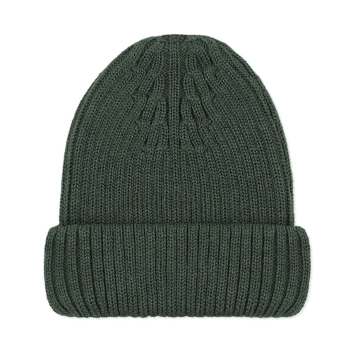 dark green merino wool winter beanie hat