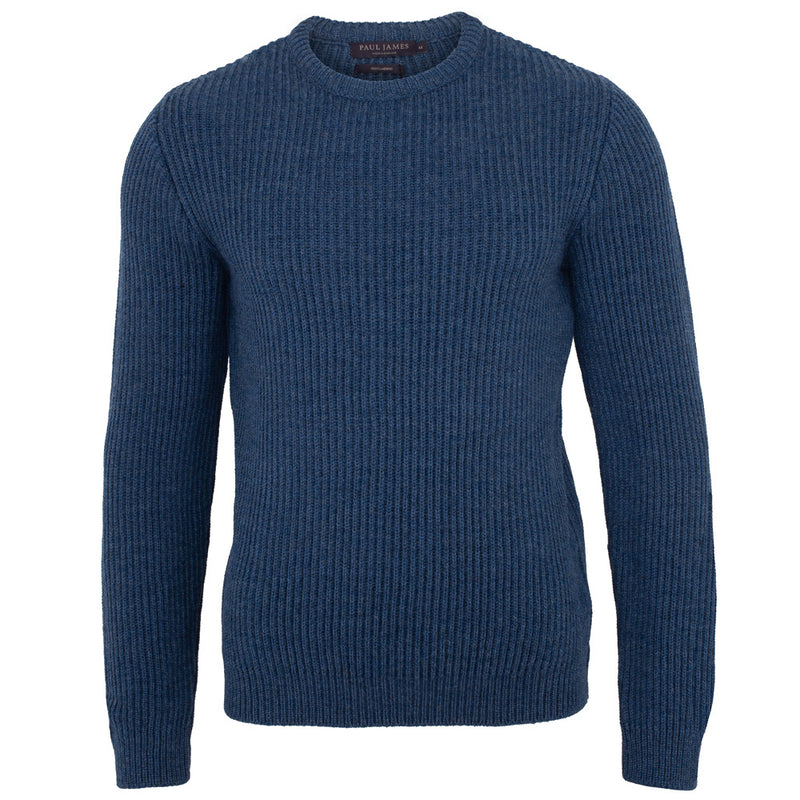 denim blue mens chunky merino wool jumper