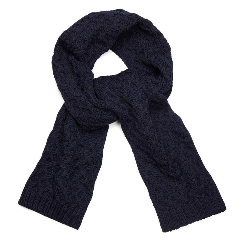 navy honeycomb wool scarf
