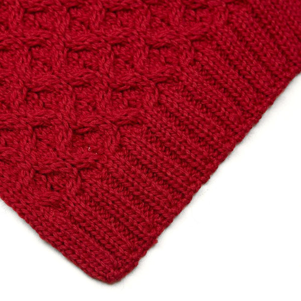 red honeycomb wool scarf