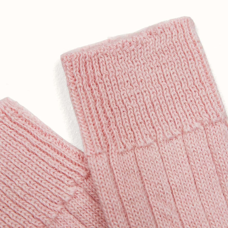 ribbed pink alpaca bed socks