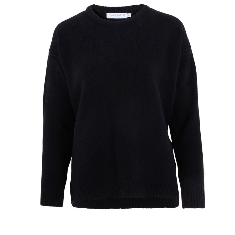 black round neck ladies quality lambs wool sweater front