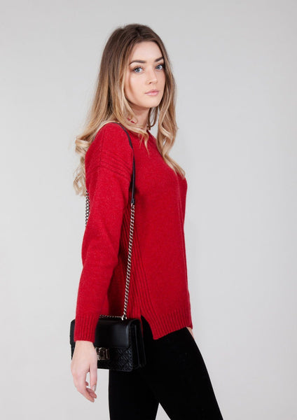 Womens Red Oversized Knitted Lambswool Drop Shoulder Jumper
