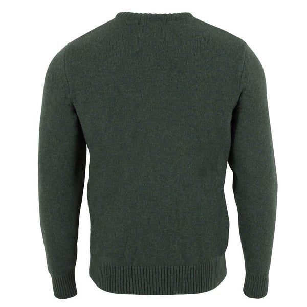 green mens crew neck lambswool jumper back