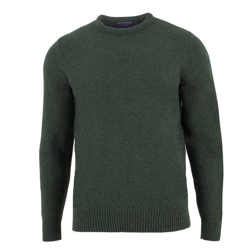 green mens crew neck lambswool jumper front