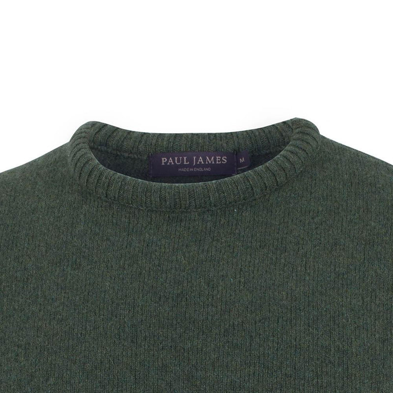 green mens crew neck lambswool jumper neck