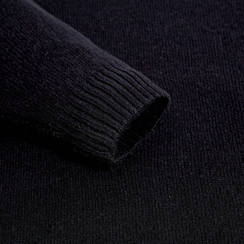 mens black v neck lambswool jumper sleeve