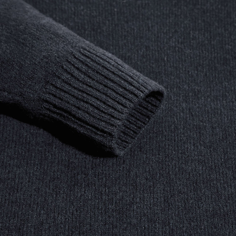 mens navy v neck lambswool jumper sleeve