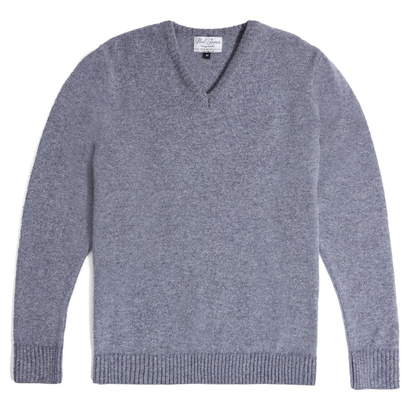 mens grey v neck lambswool jumper front