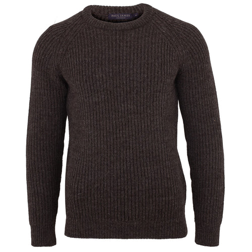 mens brown British wool fisherman rib jumper