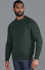 mens green British wool warm ribbed fisherman walking jumper