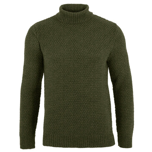 green mens roll neck merino wool moss stitch jumper made in england