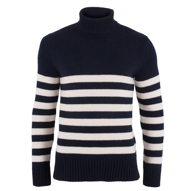 mens stripe submariner wool roll neck sweater