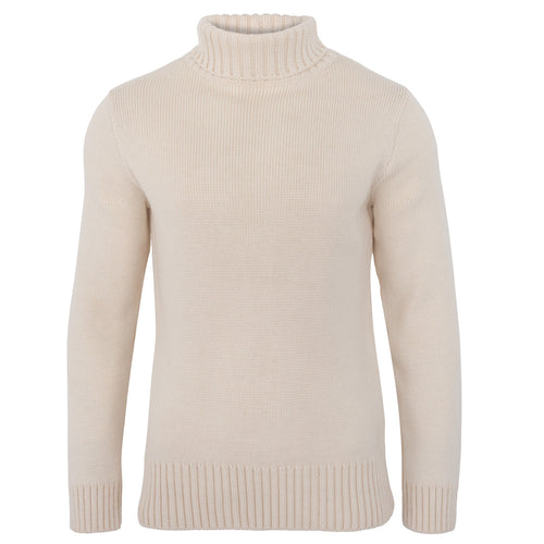 mens cream chunky roll neck merino wool winter jumper