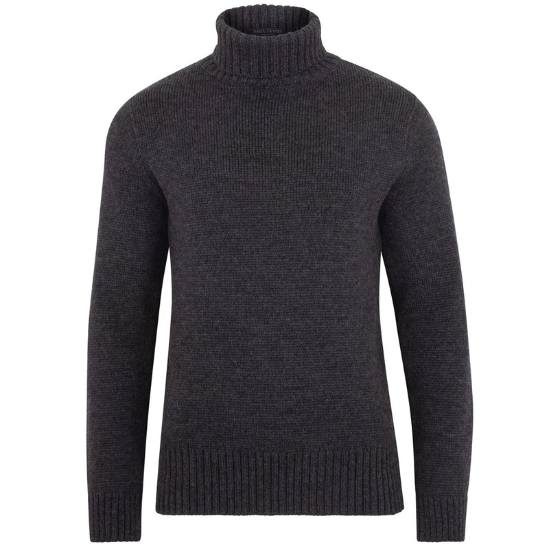 mens charcoal fitted submariner roll neck jumper