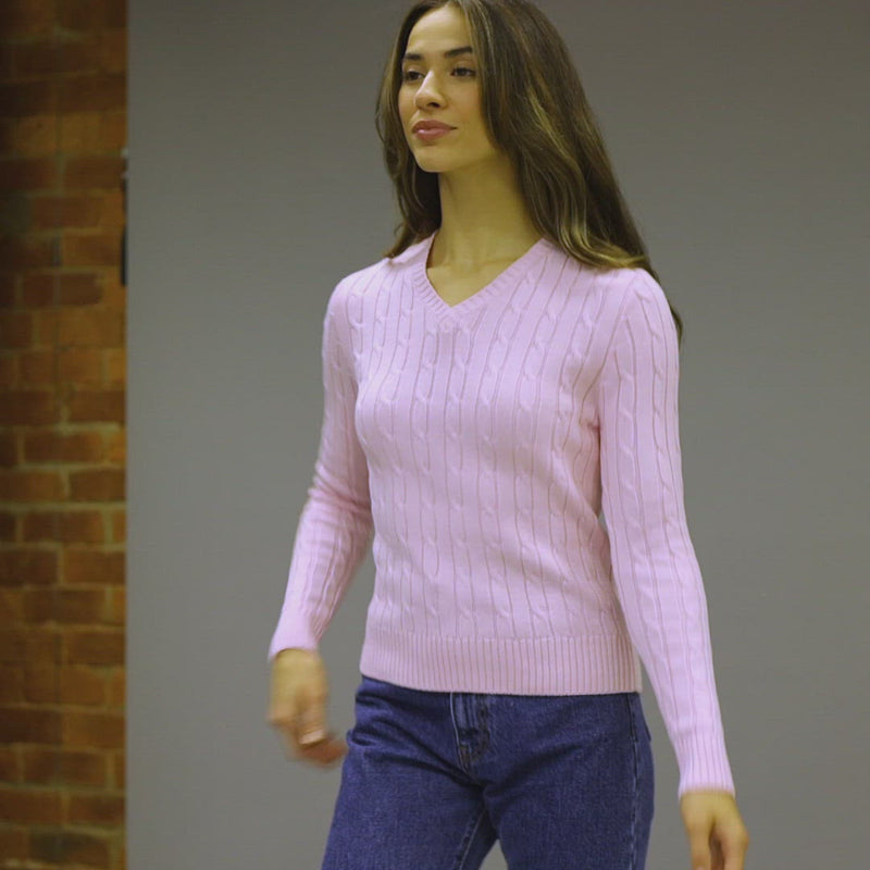 womens soft pink cotton cable jumper