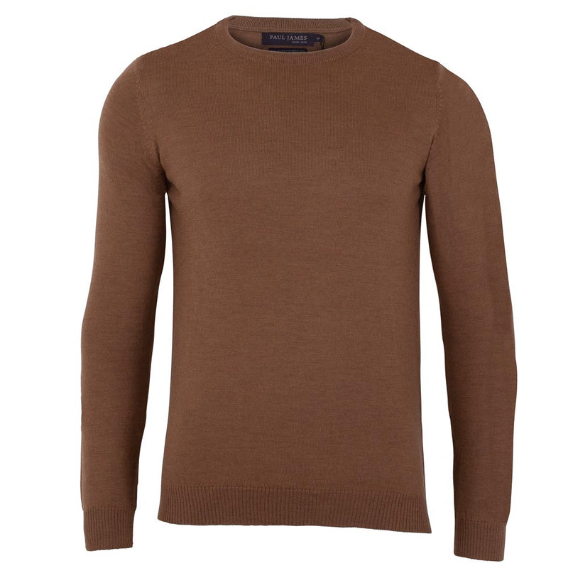 mens camel merino wool lightweight round neck sweater