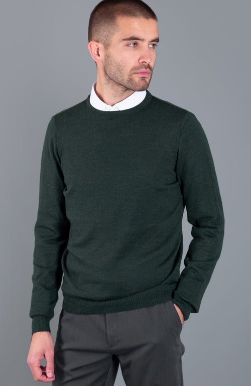 mens green fine knit merino wool jumper