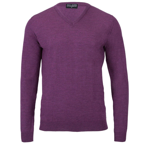 purple mens v neck merino wool jumper