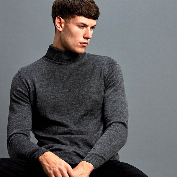 357a0e17f24c Mens Extra Fine Merino Woll Roll Neck Jumper – Paul James Knitwear