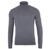 mens mid grey fine knit luxury roll neck jumper