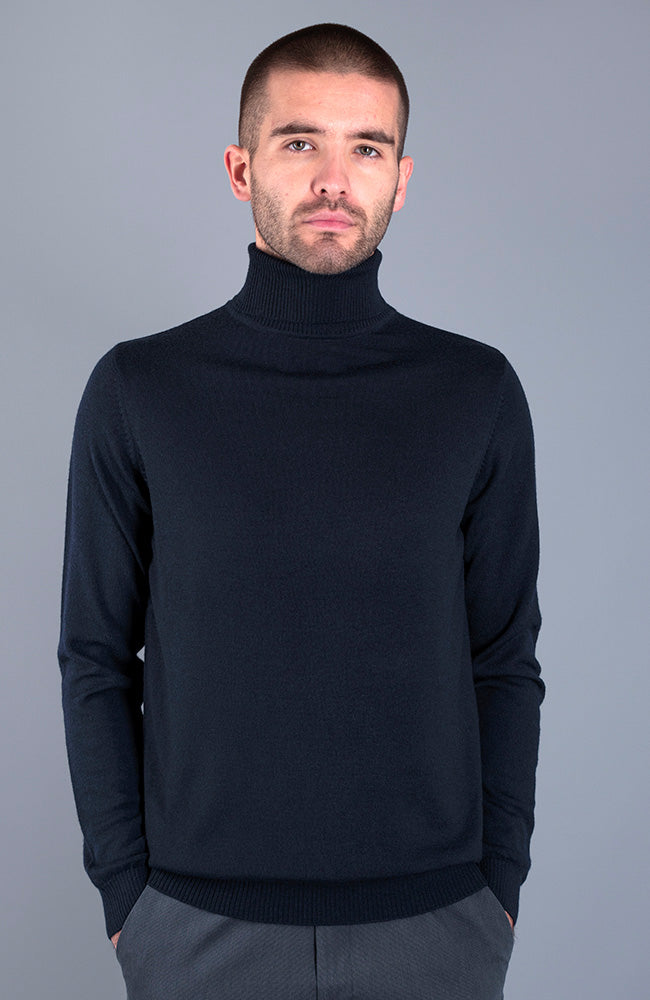 mens navy fine knit merino wool jumper